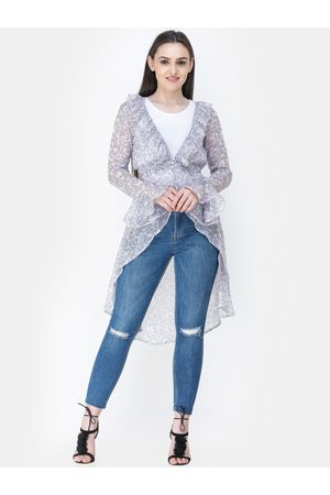 Cation Women Off-White & Blue Printed Button Shrug