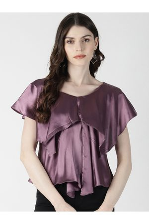 Aara Women Purple Solid A-Line Satin Top