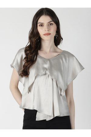 Aara Women Silver-Toned Solid A-Line Satin Top