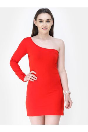 Cation Women Red Solid Bodycon Dress