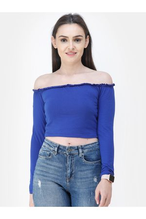 Cation Women Blue Solid Bardot Top