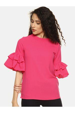 Aara Women Pink Solid Bell Sleeves Top