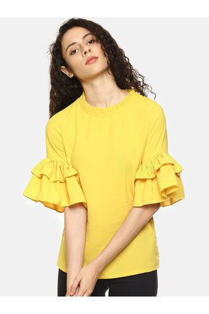 Aara Women Yellow Solid Bell Sleeves Top