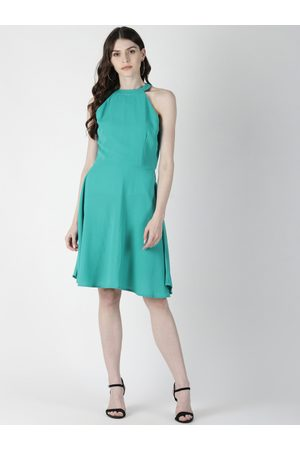 Aara Women Sea Green Solid A-Line Dress