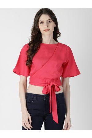 Aara Women Pink Solid Styled Back Crop Top