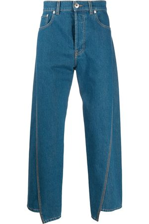 Lanvin Logo patch asymmetric jeans