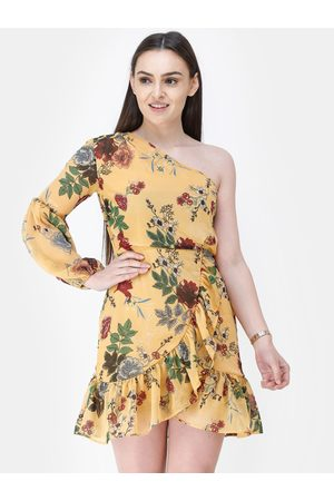 Cation Women Yellow & Green Printed A-Line Dress