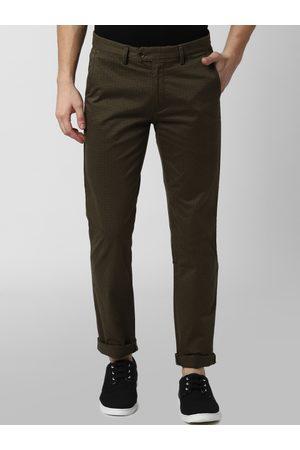 Peter England Men Olive Green & Black Slim Fit Printed Regular Trousers