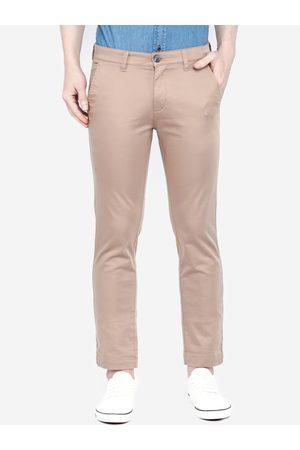 Giordano Men Beige Smart Slim Fit Solid Regular Trousers