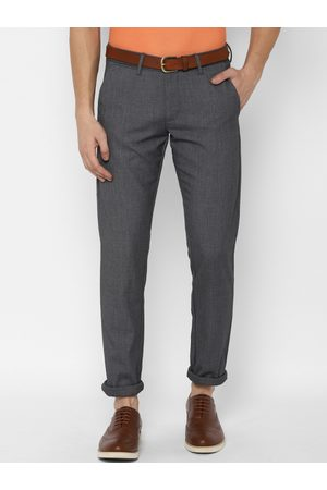 Allen Solly Men Grey Slim Fit Solid Regular Trousers