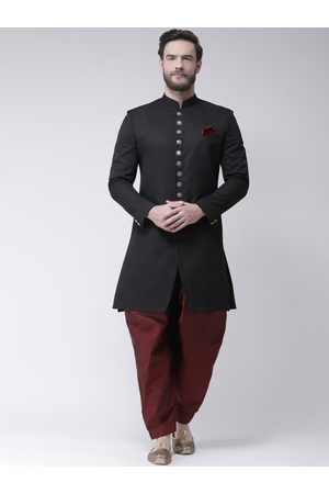 Hangup Men Maroon & Black Solid Sherwani Set