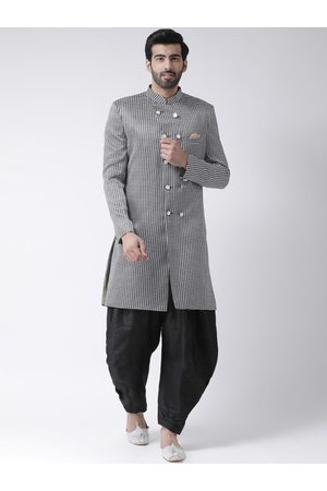 Hangup Men Black & White Self-Design Sherwani Set