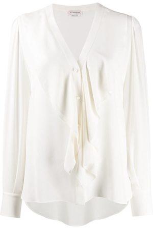 Alexander McQueen Ruffle-front long-sleeve blouse