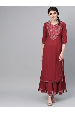 Ishin Women Maroon & Silver Embroidered Kurta with Palazzos