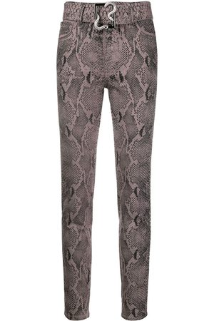 Roberto Cavalli Belted high-rise skinny jeans