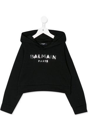 Balmain Long sleeve mirrored logo hoodie