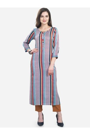 Kvsfab Women Grey & Purple Striped Straight Kurta