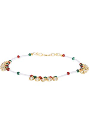 Asmitta Jewellery Women Gold-Plated & Red Stone Studded Enameled Anklet