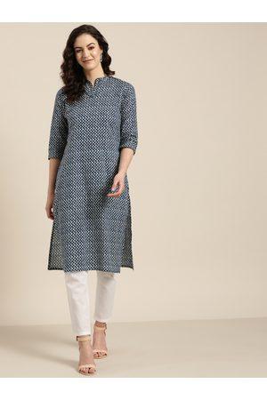 Sangria Women Off-White & Navy Blue Printed Straight Kurta