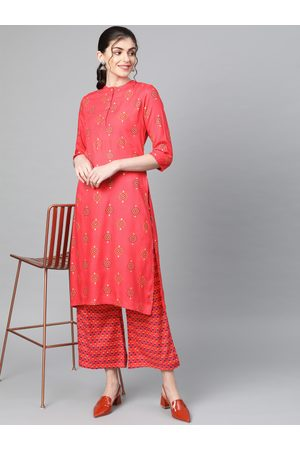 Popnetic Women Coral Red & Navy Blue Block Printed Kurta with Palazzos
