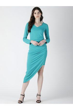 Aara Women Sea Green Solid Sheath Asymmetric Dress