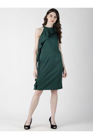 Aara Women Green Solid Sheath Dress