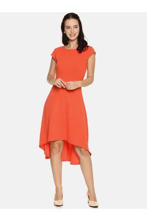 Aara Women Orange Solid A-Line High-Low Hem Dress