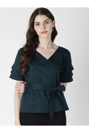 Aara Women Green Solid Wrap Top