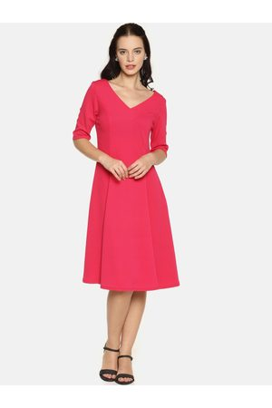 Aara Women Pink Solid A-Line Dress