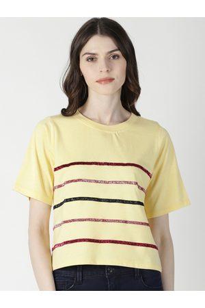 Aara Women Yellow Striped Top