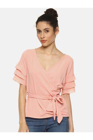 Aara Women Pink Solid Wrap Top