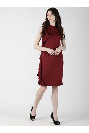 Aara Women Burgundy Solid Sheath Ruffle Dress