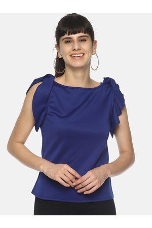 Aara Women Blue Solid Ruffle Sleeve Top