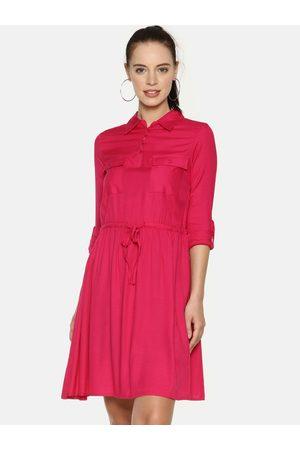 Aara Women Pink Solid Shirt Dress