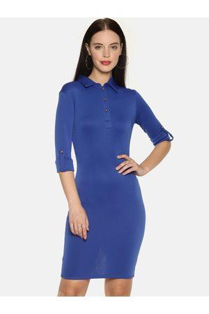 Aara Women Blue Solid Bodycon Dress