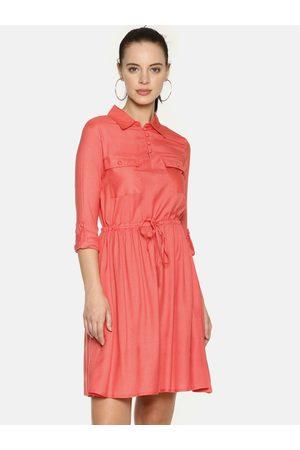 Aara Women Coral Pink Solid Shirt Dress