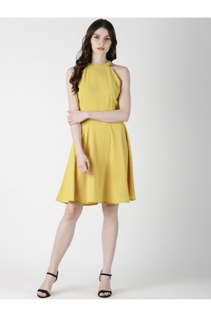 Aara Women Yellow Solid Fit and Flare Dress