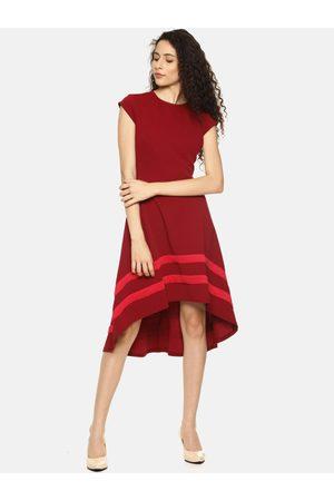 Aara Women Maroon Striped A-Line High-Low Hem Dress