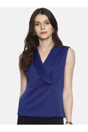 Aara Women Blue Solid Wrap Top
