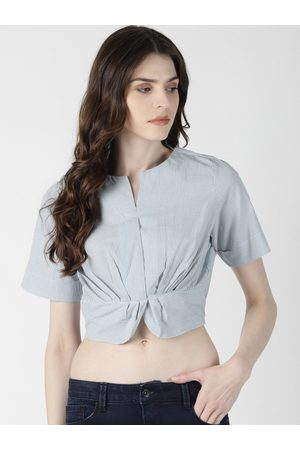 Aara Women Blue & White Striped Cinched Waist Crop Top