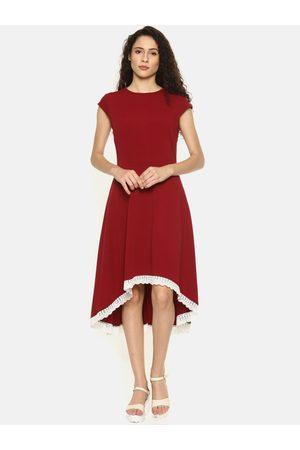 Aara Women Maroon Solid A-Line High-Low Dress