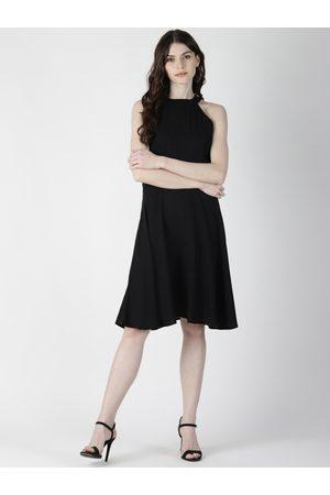 Aara Women Black Solid A-Line Dress