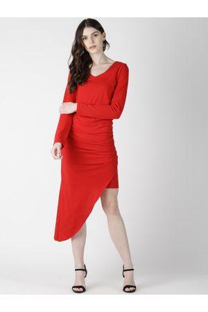 Aara Women Red Solid Sheath Asymmetric Hem Dress