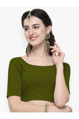 Janasya Women Green Solid Cotton Saree Blouse