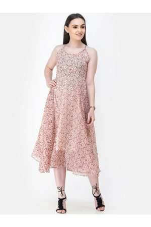 Cation Women Cream-Coloured & Pink Printed Fit and Flare Dress