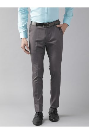 DENNISON Men Charcoal Grey Smart Tapered Fit Solid Formal Trousers
