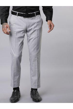Black coffee Men Grey Slim Fit Checked Regular Trousers