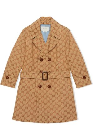 Gucci Monogram print double breasted coat