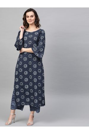 Indo Era Women Navy Blue & White Printed Kurta with Palazzos