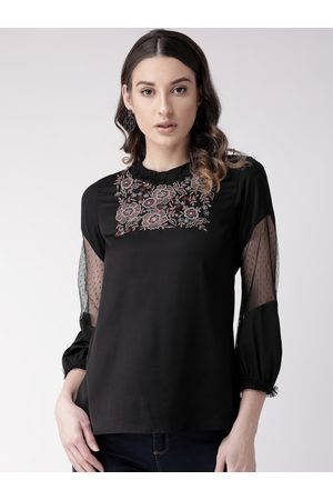Antheaa Women Black Embroidered Top